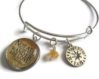 Compass bracelet, compass bangle, lord rings gift, wander are lost gift, cabochon bangle, wander bracelet, wander bangle,, sandykissesuk