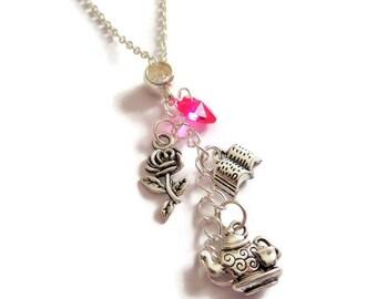 Belle necklace, beauty necklace, rose necklace, teapot necklace, princess necklace, book necklace, princess belle gift, sandykissesuk