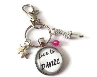 love to dance bag clip, dancer keyring, xmas stocking gift, love dance gift, dance favors, dance keyring, ballerina keyring, sandykissesuk
