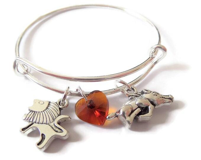 Lion bangle, lion bracelet, lion king gift, theater gift, jungle bangle, lion favors, hakuna gift, musical bracelet, theatre bracelet