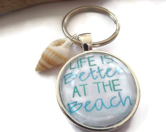 25mm Beach themed glass dome keyring, beach gift, better at the beach, seaside gift, mermaid gift, seashell gift,  novelty keyring gift
