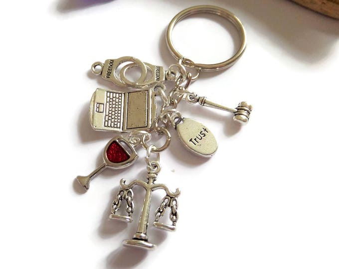 Lawyer keyring, lawyer gift, law student gift, law keyring, justice gift, solicitor gift, wine gift, scales justice gift, crime gift