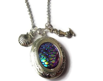 mermaid scales necklace, mermaid scales locket, mermaid jewelery, sea jewellery, sea jewelery, sea shell necklace, mermaid gift