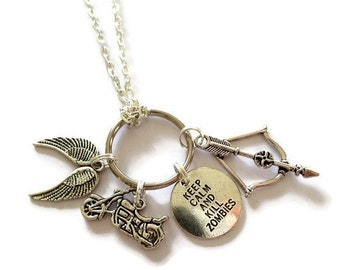 "WALKING DEAD inspired 4 charm 24"" silver tone chain ""keep calm & kill zombies""  daryl fan gift zombie jewellery Uk"