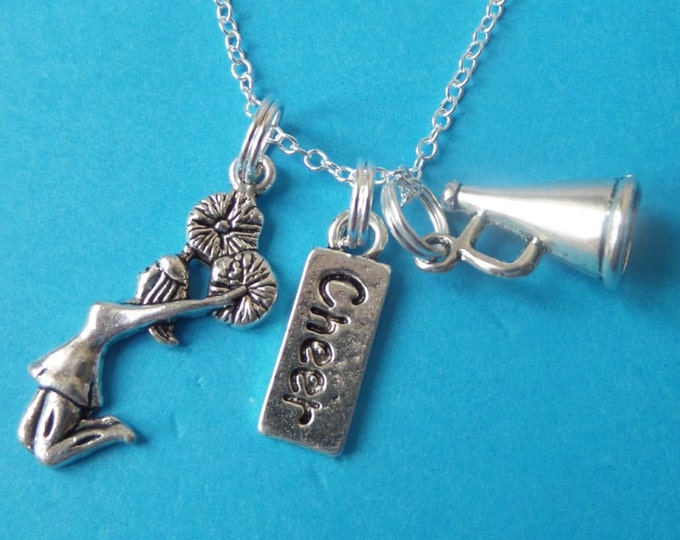 "CHEERLEADER silver tone charm 20"" necklace Love to Cheer inspired necklace Jewellery Gift Uk"