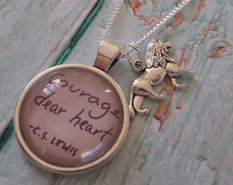 Courage necklace, courage dear heart, aslan necklace, brave necklace, stay strong gift, college necklace, uni necklace gift, sandykissesuk