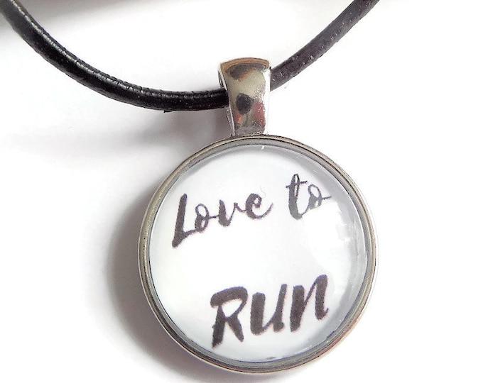 Runner necklace, runner gift, sports necklace, love to run gift, sports gift, glass dome necklace, jogger necklace, sandykissesuk