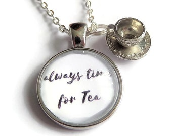 Cup tea necklace, love tea gift, always tea time, time for tea gift, cup tea jewellery, tea party gift, wonderland gift, sandykissesuk