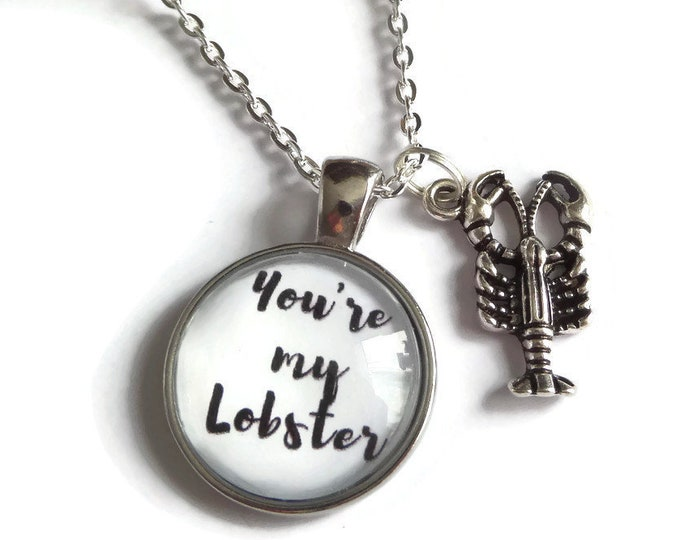Lobster necklace, lobster gift, lobster keyring, you're my lobster, lobster bracelet, friends necklace, geek fandom gift, sandykissesuk