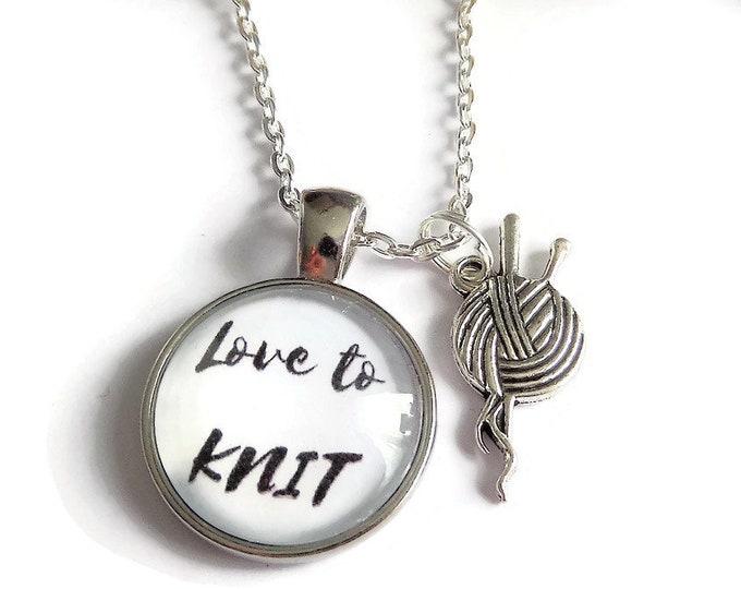 Knitting necklace, knitting gift, knitting keyring, love to knit gift, knitting bracelet, knit necklace, knitting needles, sandykissesuk