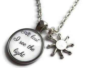 tangled necklace, rapunzel necklace, princess necklace, princess gift, princess party, see the light gift, tangled rapunzel, sandykissesuk