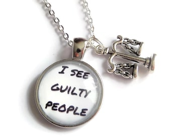 Law necklace, guilty gift, lawyer gift, guilty people gift, law crime gift, fandom gift crime, novelty gift, justice gift, sandykissesuk