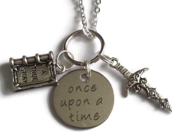 Once Upon a Time themed necklace, ouat fandom gift, dagger necklace, story book necklace, storybrooke gift, ouat jewelry, once time favors
