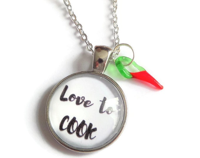 Cook necklace, cooking gift, cook keyring, love to cook gift, cook bracelet, cooking necklace, novelty gift, chilli necklace, sandykissesuk
