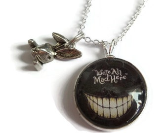 Cheshire cat necklace, we're all mad here, mad here necklace, wonderland gift, wonderland necklace, book necklace, key necklace, alice gift