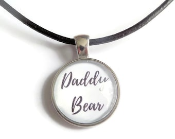 Daddy necklace, daddy gift, daddy bear necklace, daddy bear gift, glass dome necklace, new dad gift, novelty gift, sandykissesuk