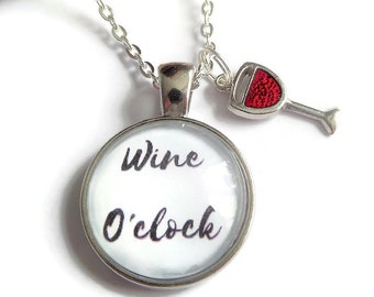 Wine necklace, drink wine gift, wine gift keyring, wine o clock gift, wine bracelet, love drinking gift, novelty necklace, sandykissesuk