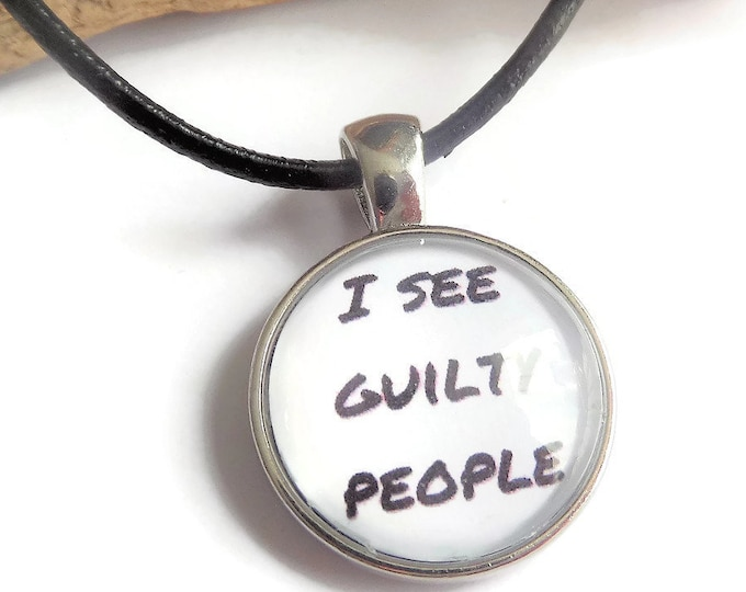 Lawyer necklace, I see guilty people, novelty necklace, police necklace, the law gift, glass dome necklace, crime fan gift, sandykissesuk