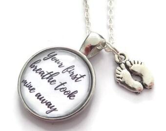 Baby feet necklace, first breathe gift, new mum gift, baby gift necklace, mummy necklace,  new baby gift, baby feet gift, sandykissesuk