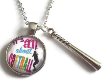 softball necklace, softball gift, sports gift, ball game gift, all about softball, softball fan gift,  sports necklace, sandykissesuk