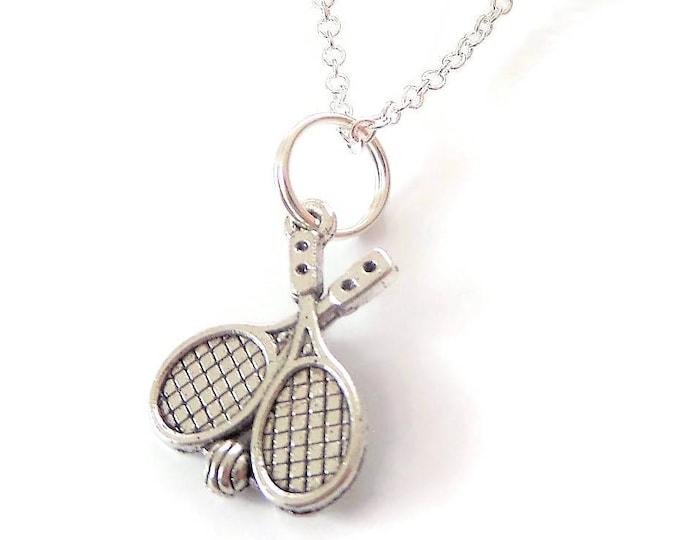 Tennis necklace, tennis rackets, play tennis, tennis gift, love tennis, sports jewellery, tennis jewelry, tennis favors, tennis party