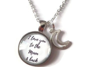 Moon back necklace, to moon & back, love you gift, family necklace, family jewellery, moon necklace, star necklace, moon gift, sandykissesuk