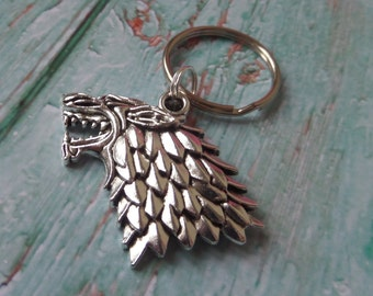 GAME of THRONES Inspired House of Stark dire wolf silver charm keyring fan gift jewellery Uk