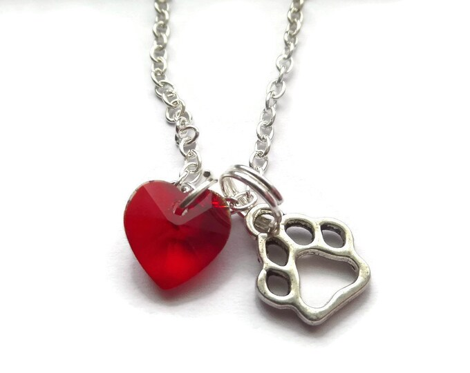 paws necklace, pet lover gift, dog lover gift, cat lover gift, love my pet, pet necklace, heart necklace, animal necklace, sandykissesuk