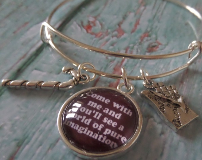 """CHARLIE & CHOC FACTORY inspired 20mm glass dome """" ......a world of pure imagination """" 65mm silver tone expandable bangle Wonka fan gift Uk"""