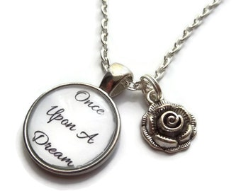 Once upon a dream, upon a dream gift, dream necklace, sleeping beauty gift, rose necklace, princess favors, cabochon necklace, sandykissesuk