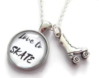 Roller skate necklace, skating gift, love to skate, roller skating gift, 80s retro gift, roller disco necklace, novelty gift, sandykissesuk