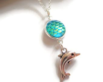 Dolphin necklace, sea necklace, mermaid necklace, sea jewelery, ocean gift, dolphin gift, mermaid jewellery, jewelery gift, mermaid favors