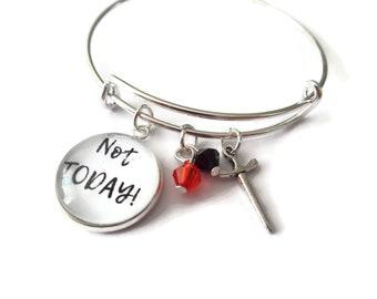 Not today bangle, sword charm bracelet, thrones fandom gift, winter is coming, fantasy jewellery, game gift, stark bracelet, sandykissesuk