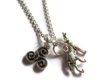 TEEN WOLF necklace, TV series gift, fandom gift, wolf jewellery, triskelion necklace, werewolf necklace, styles mccall gift, sandykissesuk