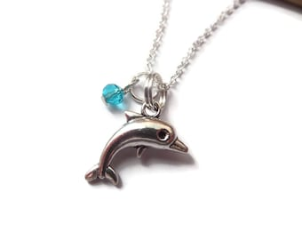 Dolphin necklace, dolphin gift, love dolphins, dolphin jewellery, sea jewelry, sea party favours, sealife gift, party favors gift