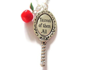 snow white necklace, princess gift, snow white gift, the huntsman, jewellery gift, fairest of them all, red apple necklace, sandykissesuk