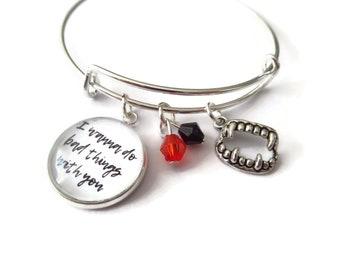 wanna do bad things gift, vampire charm bangle, vampire bracelet, vampire jewellery, vampire fandom, true blood bangle, sandykissesuk