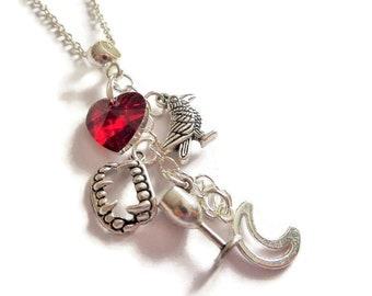 Vampire necklace, fandom gift, raven necklace, moon necklace, wine necklace, vampire fangs gift, novelty gift, tv fan gift, sandykissesuk