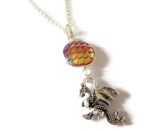 """Dragon scales necklace 24"""" silver tone chain jewellery gift Uk mythical creature dragon egg gothic"""