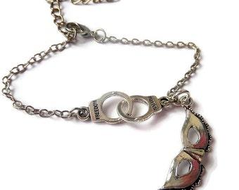 Handcuffs bracelet, mask bracelet, freedom handcuffs, fandom gift, handcuffs gift, christian bracelet, freedom gift, sandykissesuk