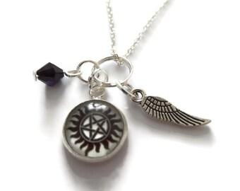 Pentagram necklace, protection necklace, angel wing necklace, supernatural necklace, supernatural fandom, winchester gift, sandykissesuk
