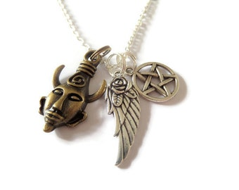"""Supernatural Amulet inspired 3 charm necklace 24"""" silver tone chain wing pentagram winchester fan gift jewellery Uk"""