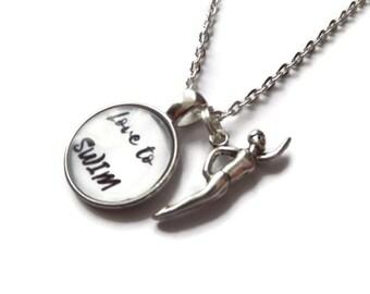 Love to swim gift, swimmer necklace, swim club gift, swim jewellery, sports jewellery,  sports swim favors, cabochon necklace, sandykissesuk