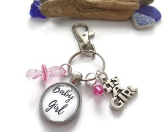Its a girl themed gift, baby girl gift,  new mum gift, new mum keyring, mummy bag clip, new baby girl, new mum keyring, sandykissesuk