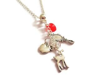 Snow white gift, snow white necklace, princess necklace, princess jewellery, princess party, princess favors, evil queen, sandykissesuk