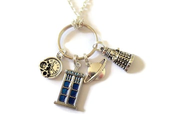 """Doctor inspired 4 tibetan silver charm 24"""" necklace & keyring fan Jewellery space time travel gift Uk"""