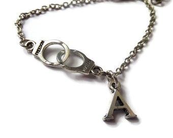 LIARS inspired silver A, Freedom Handcuffs silver tone charm bracelet fan gift inspired jewellery Fifty Shades Grey Anastasia