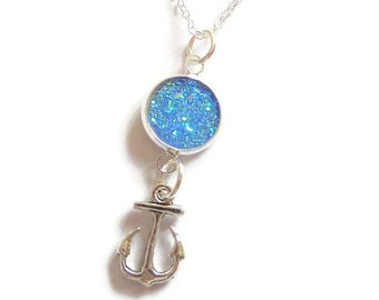anchor necklace, sea necklace, sea jewellery, ocean jewelery, druzy necklace, boat gift, nautical necklace, sea inspired, sandykissesuk