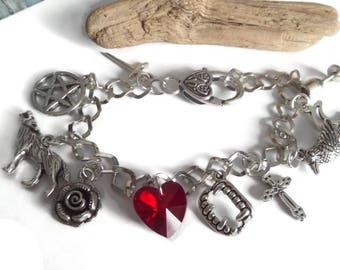 VAMPIRE DIARIES inspired Raven Vampire Fangs silver charm bracelet fan gift jewellery Uk