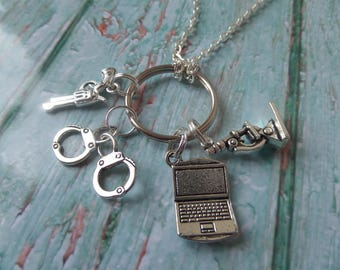 "NCIS CSI inspired silver tone 24"" necklace & 4 charm keyring Crime Scene Investigation Abby Gibbs fan gift jewellery Uk"